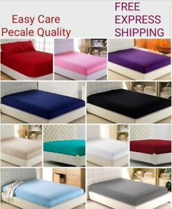 Percale Deep Fitted Sheet Bed Sheet 30cm Single Double King Sking or Pillow Case