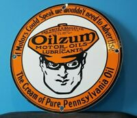 VINTAGE OILZUM GASOLINE PORCELAIN GAS OIL SERVICE STATION PUMP PLATE AD SIGN