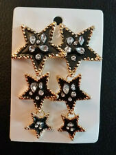 "Rhinestone Chandelier Earrings STAR Black Enamel Big Statement Runway 3"" #580"