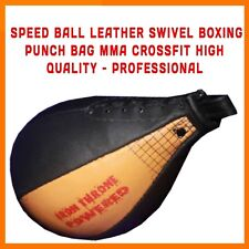 LEATHER SPEED BALL AND SWIVEL FAST BOXING PUNCHING MMA UFC TRAINING PEAR FITNESS
