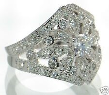 Solid 925 Sterling Silver CZ Filigree Vintage-Style Ring Size-5 '