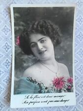 Edwardian Beautiful Glamour Lady  Peony Original Vintage Postcard