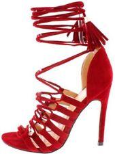 Red StrappyTassel Lace Up High Heel Stilettos