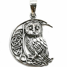 .925 Solid Sterling Silver Wise Moon Owl Familiar Wicca Pentagram Pendant P068