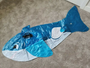 rare, vintage, Inflatable, blow up, clear, blue, intex, happy, shark