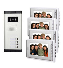 "4 unit Apartment Intercom System 7"" Video Door Phone Visual Intercom Doorbell"