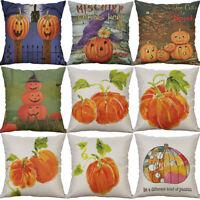 """18"""" Pumpkin Halloween Cotton Linen Cushion Cover Pillow Case Sofa Home Decor"""