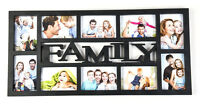 Family 10 Multi Aperture Photo Picture Frame Holds 6''X4'' Photos Black CL-9624