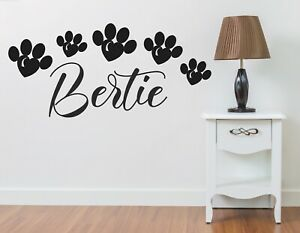 Dog wall personalised name sticker art pet quote paws cat