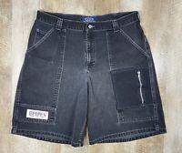 Vtg LEE Pipes Baggy Skate Hip Hop Jnco Black Denim Jean Shorts Mens Sz 36 90s