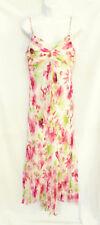 SANGRIA Womens Off White Pink Floral Silk Spaghetti Strap Long Maxi Dress 8 M