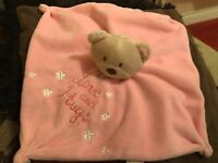 LOVE AND HUGS PINK TEDDY BEAR BABIES COMFORT BLANKET SOFT TOY PLUSH VGCC