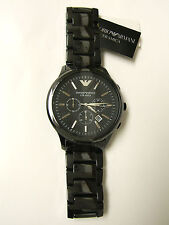 (M) EMPORIO ARMANI BLACK CERAMIC CHRONOGRAPH WATCH AR1474 NEW WITH TAG ONLY