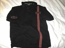 HARLEY-DAVIDSON RACING STRIPE COTTON EMBROIDERED PATCHES NO CAGES POLO SHIRT- M