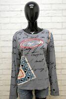 Maglia Desigual Donna  Grigia Taglia L Cotone T-Shirt Women's Maglione Camicia