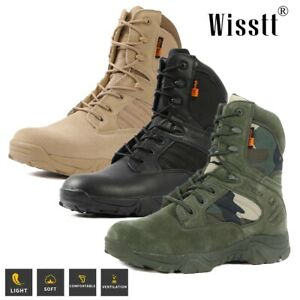 Mens Military Tactical Desert Combat Army Work Boots Outdoor Hunting Ankle Shoes