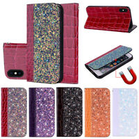 Hybrid PU Bling Leather Case Flip stand Wallet Magnetic Cover For iPhone X 8 7 6