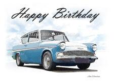 Ford Anglia 105e 18th 21st 30th 40th 50th 60th 70th Birthday Greetings Card
