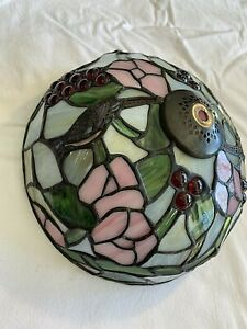 Vintage Style Stained Glass Flower Design Lamp Light Shade