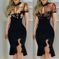 Sexy Women V-neck Slit Ruffles Hem Floral Slimming Lace Short Sleeve Boho Dress