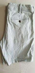 EXPRESS Men Slim Fit Stretch Cotton Blend Chino Shorts - Size 31 x 8 Gray Blue