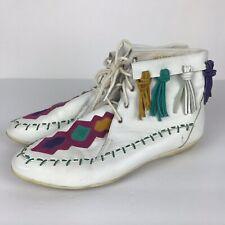 Vintage Latinas Moccasin Boots White Womens Size 9 Fringe Tassel Festival Boho