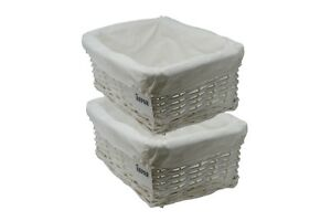 Storage Hamper Basket Medium White Wicker With Cloth Lining Pack Of 2 By Arpan