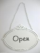 Placa de chapa Open Abierto Blanco Puerta Shabby Vintage carga