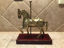 Vintage Brass/Bronze Carousel Horse Figurine With Wood Stand