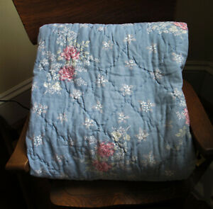 """Simply Shabby Chic Lily Rose Chambray Quilt Blue TWIN 68"""" X 92"""" Linen/Cotton Bld"""
