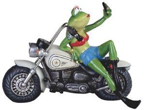 Female Biker Frog Figurine on Motorcycle Red Halter Top Taking Selfie 10 x 4 x 7
