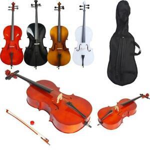 Cello 1/2 3/4 4/4 Bass Wood Natural Black White Matte +Case+Bag+Bow+Rosin+Bridge