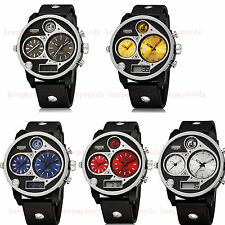 OHSEN Military Army Sport Dual Time Zone Oversizes Mens Watch Quartz Waterproof