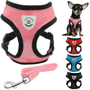 Reflective Dog Cat Harness and Leash Soft Air Mesh Vest For Small Medium Dogs
