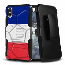 For iPhone XS Case Tough Rugged Belt Clip Holster Kickstand World Cup FRANCE