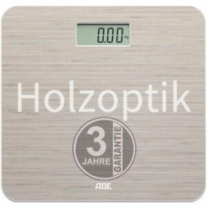 ADE Digitale Personenwaage Holzoptik LC-Display Badwaage Badezimmer Körper Waage