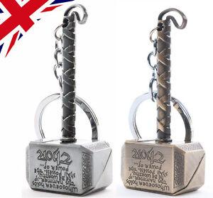 Marvel Thor Hammer Keyring Avengers - Norse Mythology - Mjolnir Chain - UK Gift