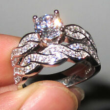 Size 6 Deluxe Diamonique Lady's 925 silver White Sapphire Wedding Band Ring Set