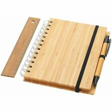 Set Notebook Franklin in Legno di Bambù 70 Fogli B6 Righe Righello Block Notes