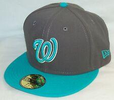 NEW Era 59fifty WASHINGTON NATIONALS Baseball Hat DARK GRAY cap SIZE 7-1/2 MLB