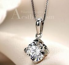 18K White Gold GP Austrian Crystal AAA CZ Zircon Bridal Necklace Pendant Chain