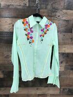 Aziz Women's Green Semi Sheer Long Sleeve Floral Boho Embroidered 100% Cotton