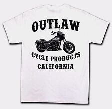 OUTLAW CYCLE PRODUCTS NEW LOGO BIKER T-SHIRT WHITE SHORT SLEEVE MOTORCYCLE TEE
