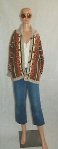 VTG Intarsia Geometric Nordic Chunky Handknitted Large Wooden Buttons Cardigan