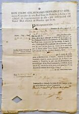 SPAIN Peru treasury bill payment order coin mint 1771; Virey Conde de Superunda