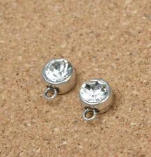 40PCS Retro Style Clear Rhinestone Antique Silver Charms Pendant Jewelry 12x8MM