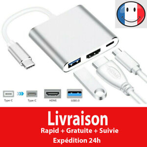 Type C vers HDMI USB 3.0 USB-C Câble adaptateur 3 in 1 Hub Windows Apple Macbook