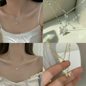 925 Silver Butterfly Clavicle Chain Women Fashion Pendant Necklace Charm Jewelry