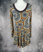JOE BROWNS Navy Blue Orange Boho Skater Dress Long Sleeve Size 10