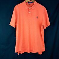 Polo Ralph Lauren Mens Size Large Orange Pima Soft Touch Short Sleeve Shirt